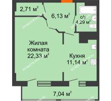 1 комнатная квартира 53,64 м² в ЖК Покровский, дом № 1 - планировка