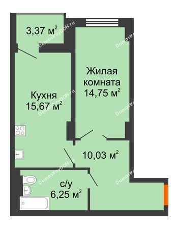 1 комнатная квартира 48,39 м² в ЖК Аврора, дом № 3