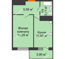 1 комнатная квартира 36,82 м² в ЖК Галактика, дом Литер 1 - планировка