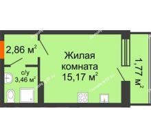 Студия 23,33 м² в ЖК Суворов-Сити, дом 1 очередь секция 6-13 - планировка
