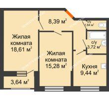 2 комнатная квартира 58,9 м², Жилой дом: ул. Сухопутная - планировка