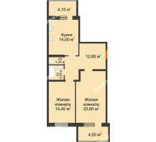 2 комнатная квартира 69,7 м² в ЖК Удачный 2, дом № 1 - планировка