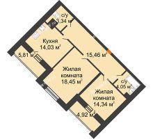 2 комнатная квартира 75,03 м², ЖД Эльбрус - планировка