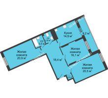 3 комнатная квартира 107,2 м² в ЖК Монолит, дом № 89, корп. 3 - планировка