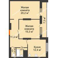 2 комнатная квартира 70,4 м², ЖК Космолет - планировка