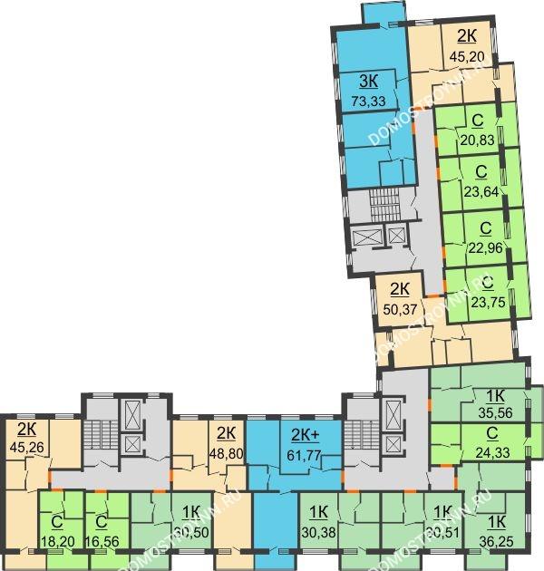 Планировка 2 этажа в доме № 2 в ЖК АВИА