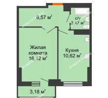 1 комнатная квартира 40,37 м², ЖК Орбита - планировка