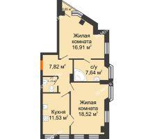 2 комнатная квартира 65,11 м² в ЖК Дом на Провиантской, дом № 12 - планировка