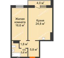 2 комнатная квартира 56,6 м² в ЖК Курчатова, дом № 10.1 - планировка