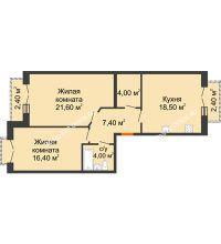 2 комнатная квартира 74,3 м², Жилой дом: г. Дзержинск, ул. Кирова, д.12 - планировка