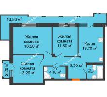 2 комнатная квартира 80,3 м², ЖК Утро - планировка