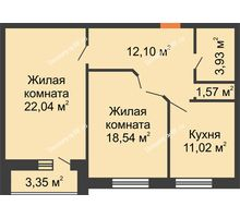 2 комнатная квартира 70,87 м², ЖК Парк Металлургов - планировка