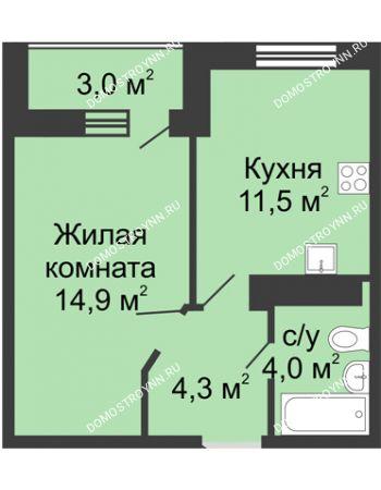 1 комнатная квартира 36,2 м² в ЖК Цветы, дом № 10
