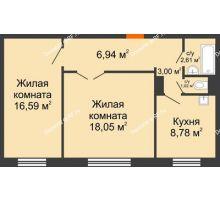 2 комнатная квартира 56,99 м² в ЖК Иннoкeнтьeвcкий, дом № 6 - планировка
