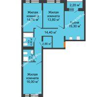 3 комнатная квартира 84,9 м² в ЖК НОРД, дом № 13 - планировка