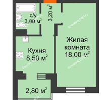 1 комнатная квартира 34,6 м² в Микрорайон Прибрежный, дом № 8 - планировка