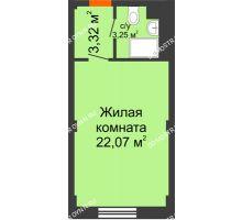 Студия 28,64 м², Апарт-Отель Гордеевка - планировка