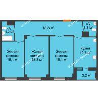 3 комнатная квартира 91,6 м² в ЖК Квартет, дом № 3 - планировка
