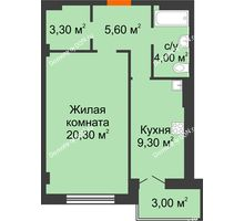 1 комнатная квартира 45,5 м² в ЖК Парк Островского 2, дом № 1 - планировка