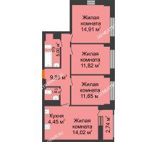 4 комнатная квартира 75,03 м² - ЖК Каскад на Путейской
