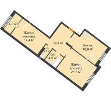2 комнатная квартира 81,7 м² - ЖК Симфония Нижнего