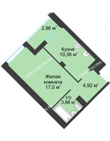 1 комнатная квартира 39,12 м² в ЖК На Вятской, дом № 3 (по генплану)
