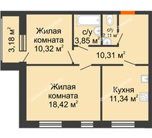 2 комнатная квартира 57,94 м² - Дом на Чаадаева