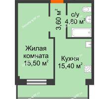 1 комнатная квартира 39,3 м² в Микрорайон Европейский, дом блок-секции № 1,2 - планировка