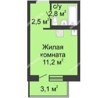 Студия 18,1 м² в ЖК Мега, дом № 5 - планировка