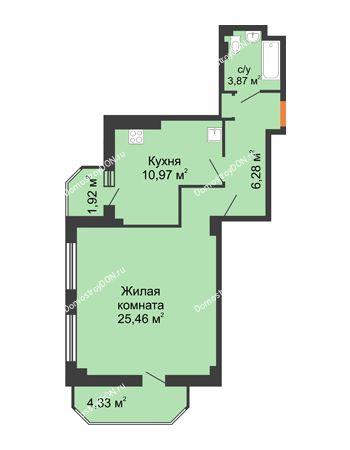 1 комнатная квартира 53,14 м² - ЖК Гармония