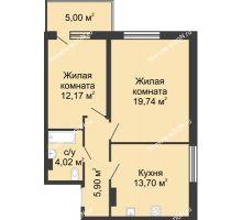 2 комнатная квартира 60,53 м² в ЖК Времена Года, дом № 1