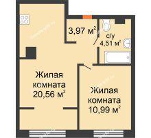 """2 комнатная квартира 40,03 м² в ЖК Европейский берег, дом ГП-9 """"Дом Монако"""" - планировка"""