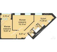 2 комнатная квартира 63,35 м² в ЖК Воскресенская слобода, дом №1 - планировка