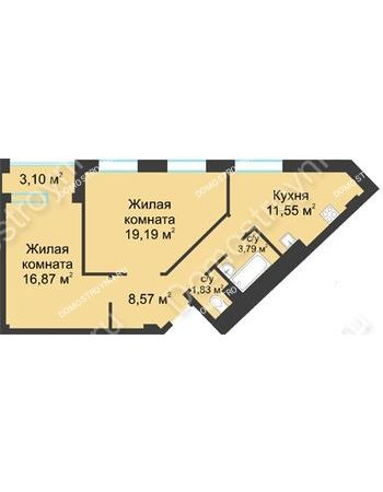 2 комнатная квартира 63,35 м² в ЖК Воскресенская слобода, дом №1