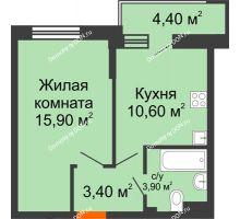 1 комнатная квартира 36 м² в ЖК Династия, дом Литер 2 - планировка
