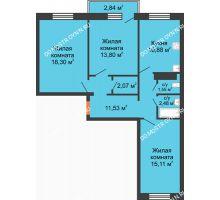 3 комнатная квартира 76,57 м² в ЖК Мончегория, дом № 6 - планировка