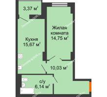 1 комнатная квартира 48,28 м² в ЖК Аврора, дом № 3 - планировка