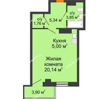 Студия 37,22 м² в ЖК Сокол на Оганова, дом Литер 6 - планировка