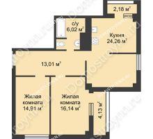 2 комнатная квартира 77,5 м² - Каскад на Сусловой