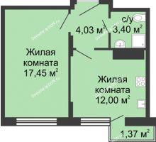 1 комнатная квартира 43,32 м², ЖК Соборный - планировка