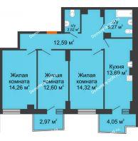 3 комнатная квартира 77,18 м² в ЖК Сердце Ростова 2, дом Литер 8 - планировка