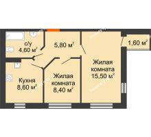 2 комнатная квартира 44,5 м² в ЖК Куйбышев, дом № 10 - планировка