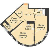2 комнатная квартира 82,85 м² в ЖК Дом на Набережной, дом № 1 - планировка