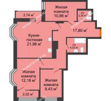 4 комнатная квартира 81,51 м², ЖК Каскад на Менделеева - планировка