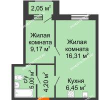 1 комнатная квартира 42,16 м² - Дом на Чаадаева