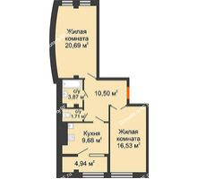 2 комнатная квартира 67,92 м² в ЖК Малахит, дом № 1 - планировка