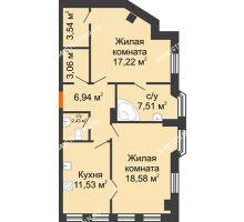 2 комнатная квартира 70,81 м² в ЖК Дом на Провиантской, дом № 12 - планировка