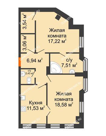 2 комнатная квартира 70,81 м² в ЖК Дом на Провиантской, дом № 12
