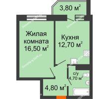 1 комнатная квартира 40,9 м² в ЖК Звездный, дом № 6