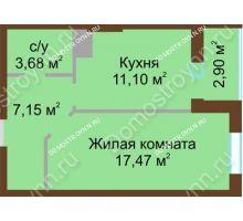 1 комнатная квартира 42,3 м² в ЖК Красная поляна, дом № 8